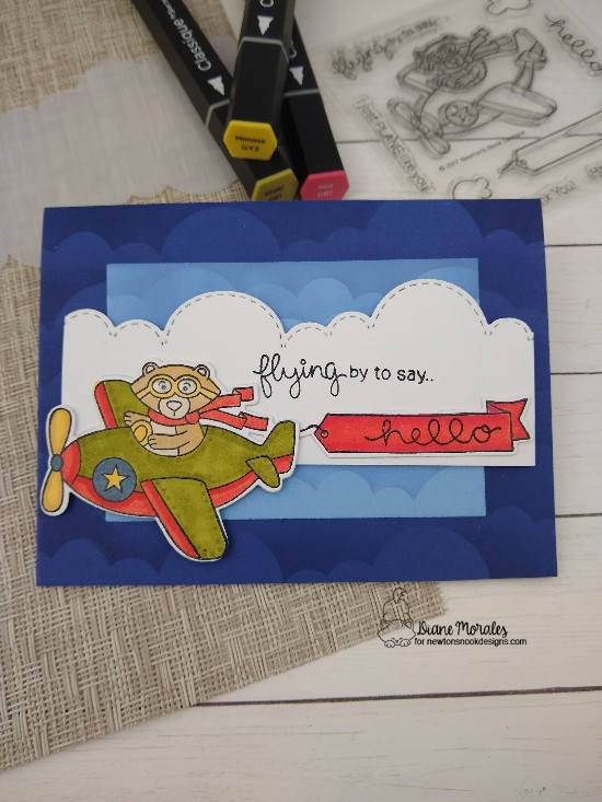 Flying by to say hello by Diane features Winston Takes Flight, Clouds, Sky Borders by Newton's Nook Designs; #newtonsnook, #inkypaws, #cardmaking, #bearcards