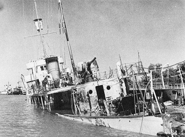 Iranian gunboat sunk during Operation Countenance, 25 August 1941 worldwartwo.filminspector.com