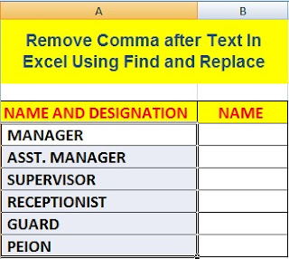 How To Remove Comma after Text In Excel in Hindi