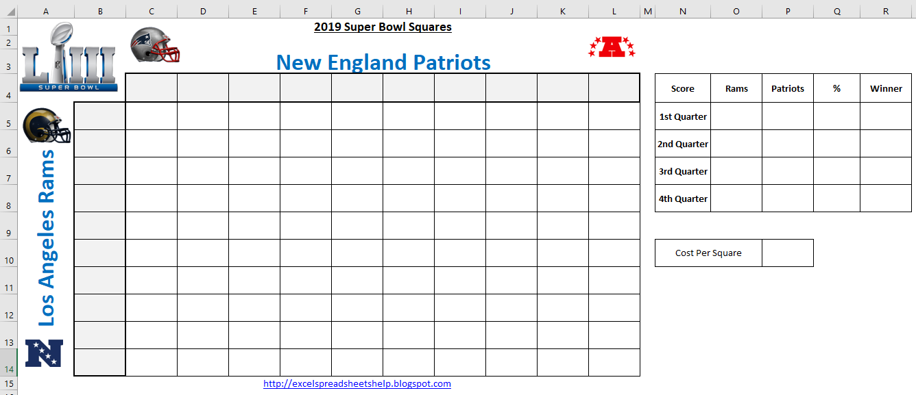 graphic about Printable Super Bowl Pools called Excel Spreadsheets Support: Tremendous Bowl Squares Template 2019