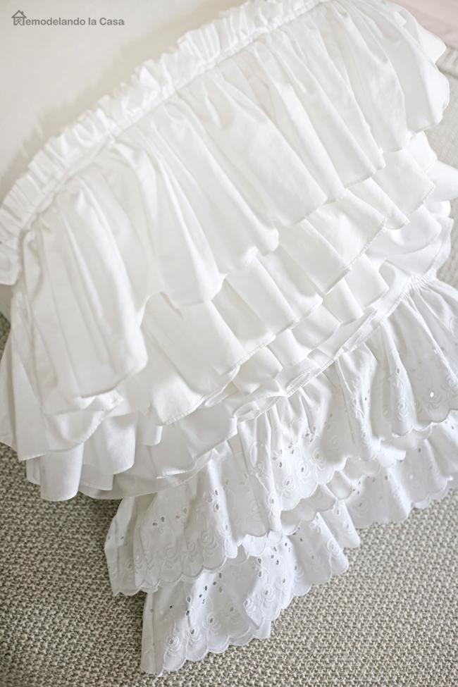 How to repurpose ruffle curtains into ruffled pillowcases