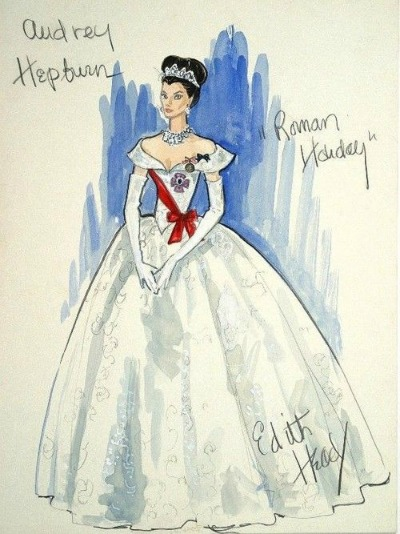 Edith Head Academy Award Winning Costume Design for Audrey Hepburn in 1953's Roman Holiday