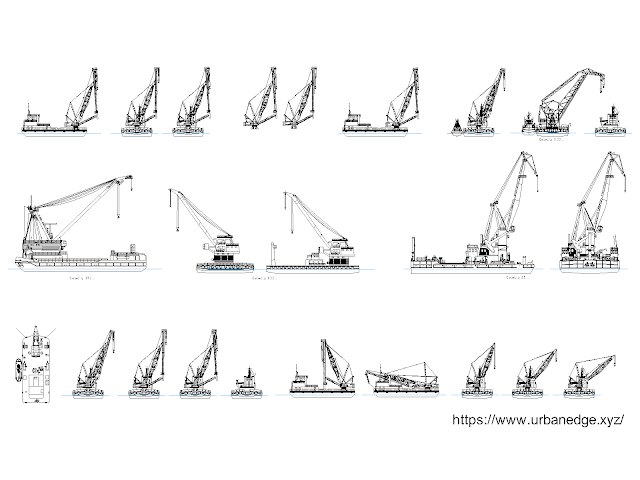 Floating Cranes free cad blocks download - 20+ Dwg Crane Models