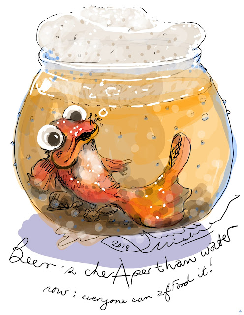 Cartoon of a goldfish in warm beer: it's a pale la(a)ger