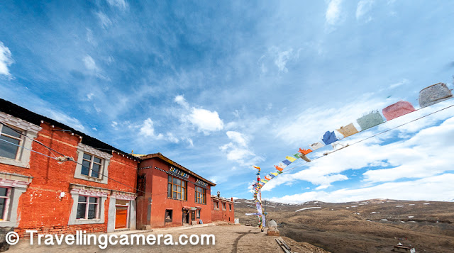 Tangyud Monastery is located on the edge of a deep canyon and overlooking the town of Kaza, Spiti 4 km to the west. It is located on the periphery of the Kibber Wildlife Sanctuary.     Related Post - Morning walk around Nako Lake and the village in Kinnaur, Himachal Pradesh