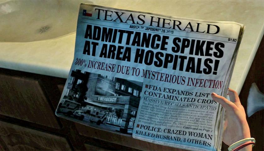 Газета, яку можна побачити у першій локації The Last of Us