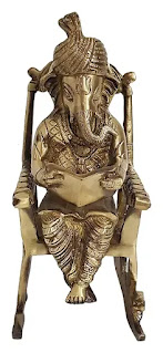 Brass Ganesh on Chair for Diwali Puja