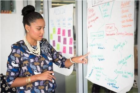 Woman presenting growth strategies