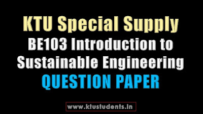 KTU BE103 Introduction to Sustainable Engineering
