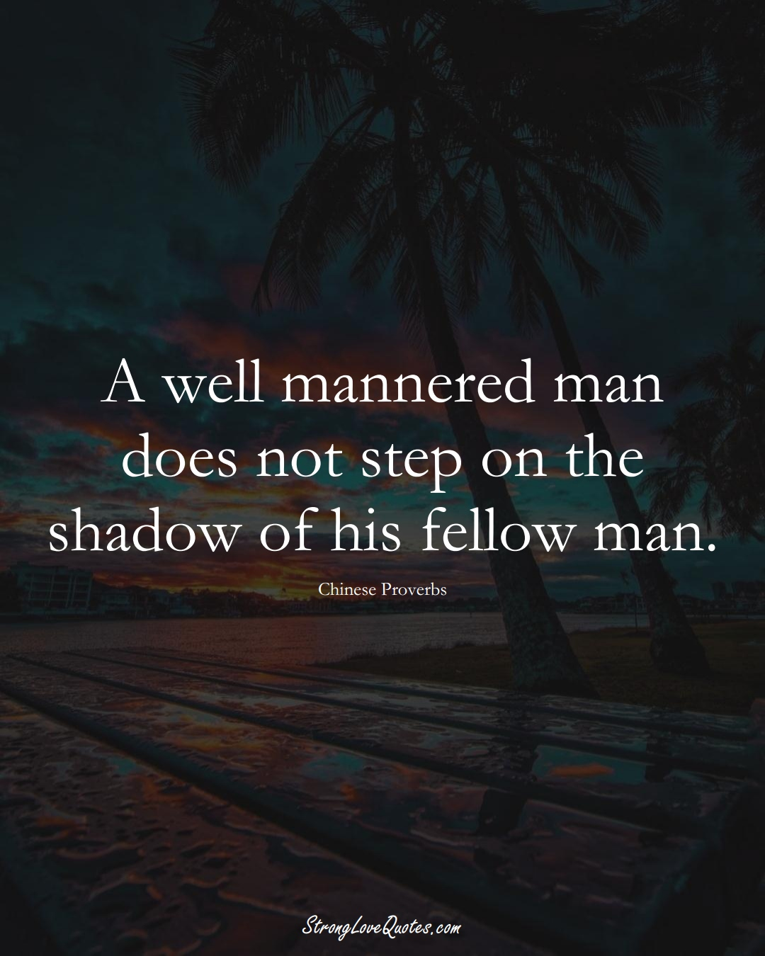 A well mannered man does not step on the shadow of his fellow man. (Chinese Sayings);  #AsianSayings