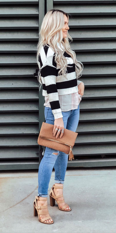 24 Cute Fall Outfits You Should Already Own. Clinch the waist with chunky belts and slip into shimmery satin and silk outfits, because these cute fall clothing are a staple this season. Fall Fashion via higiggle.com #fall #falloutfits #fashion #sweater