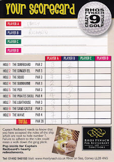 Scorecard from the Rhos Fynach Crazy Golf course in Rhos on Sea