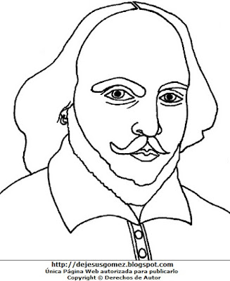 Imagen de William Shakespeare para colorear, pintar e imprimir. Dibujo de William Shakespeare hecho por Jesus Gómez