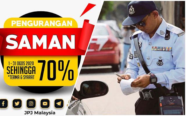Diskaun 70% Bagi Saman JPJ Dan SPAD Bermula 1 Ogos Sempena Bulan Kemerdekaan