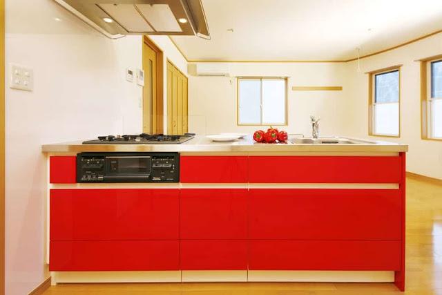 Inspirasi Ide Desain Dapur Minimalis Asia dengan nuansa merah putih