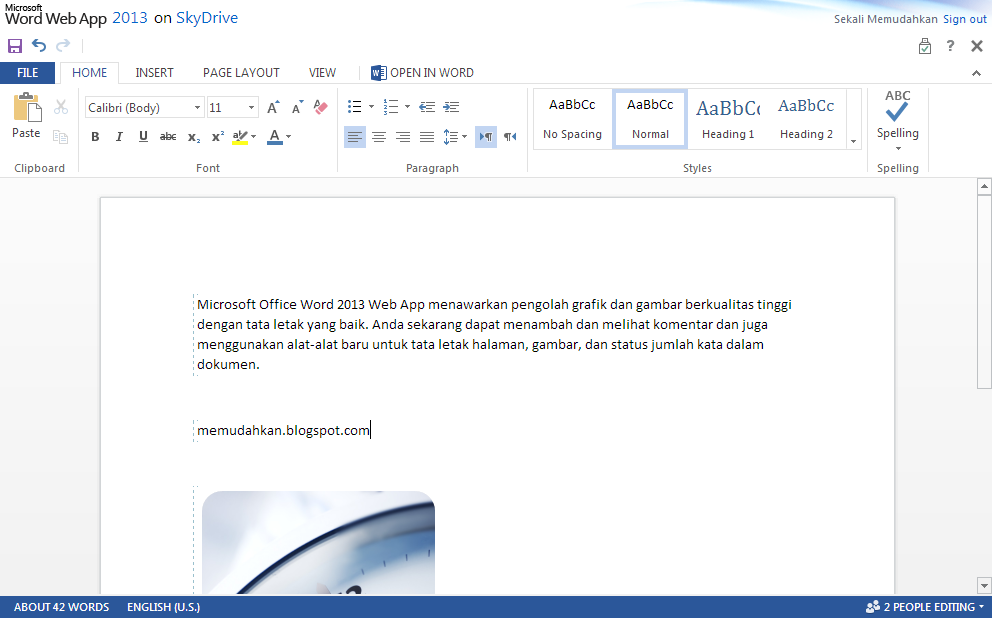 Microsoft Office Word 2013 Web App