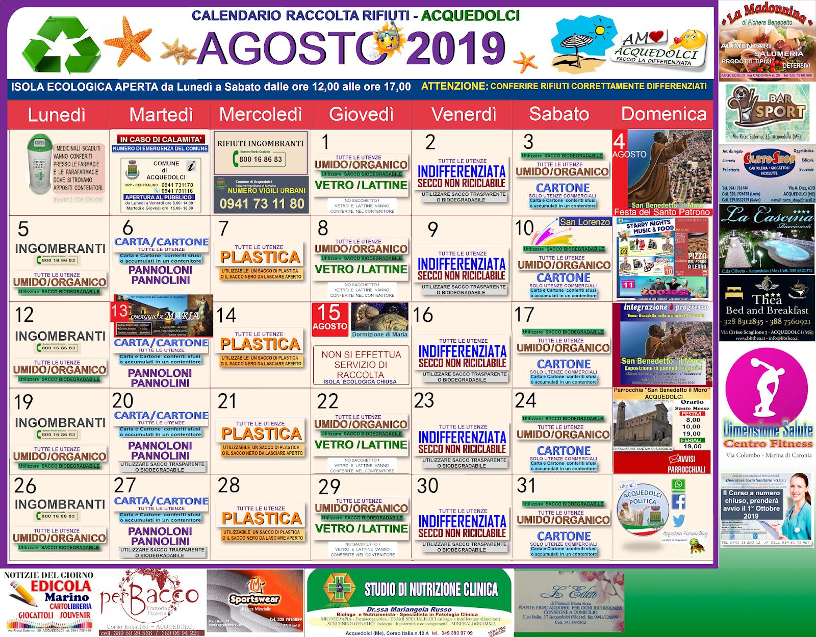 Calendario Raccolta Differenziata Sanremo.Agosto Calendario Della Raccolta Differenziata