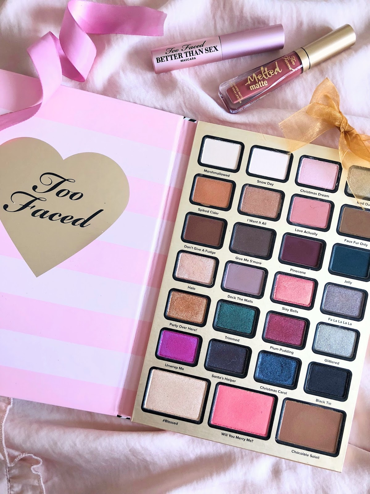 too faced holiday boss lady eyeshadow palette chocolate better than sex mascara liquid lipstick swatches review agenda