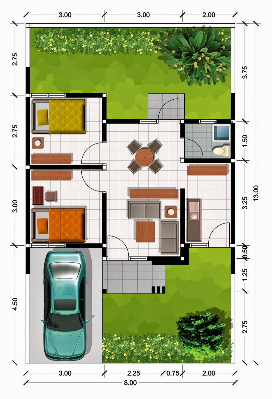 pirdot desain bentuk dan denah rumah minimalis modern type 45