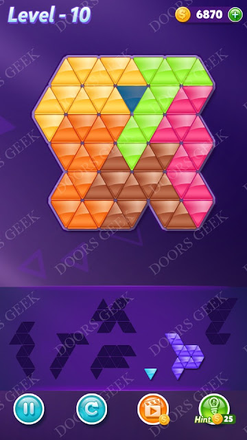 Block! Triangle Puzzle Intermediate Level 10 Solution, Cheats, Walkthrough for Android, iPhone, iPad and iPod