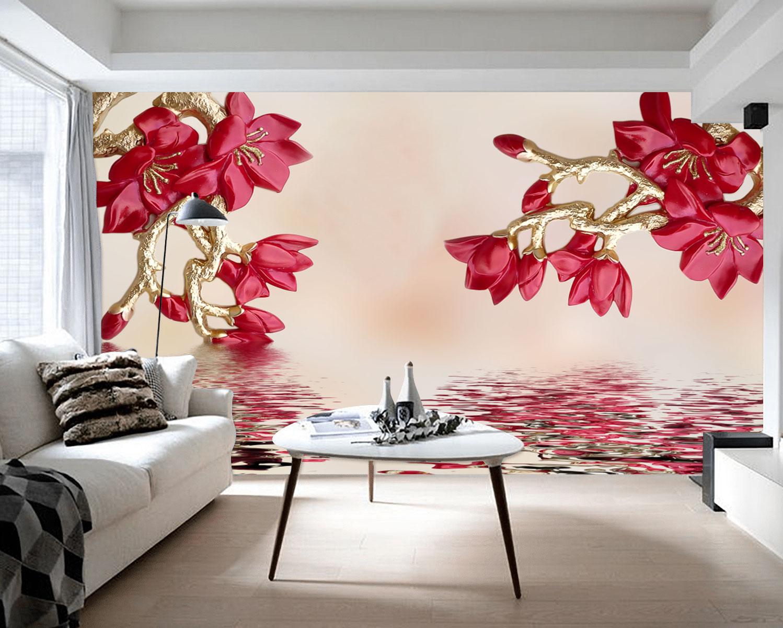 Tranh Dán Tường 3D Hoa Đỏ