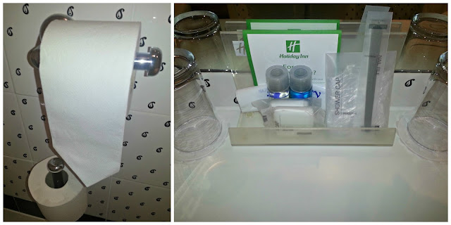 Collage of hotel bathroom accessories