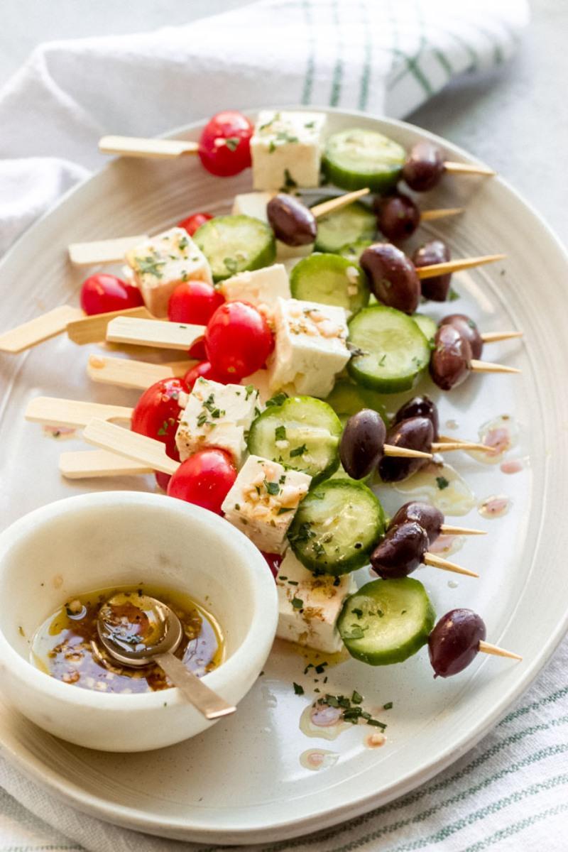 Easy Summer Appetizers - Greek Salad Skewers