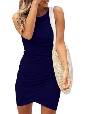 casual crew neck  sleeveless short mini dresses