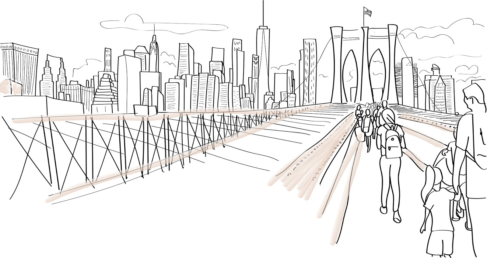 illustration of Brooklyn bridge and Manhattan skyline