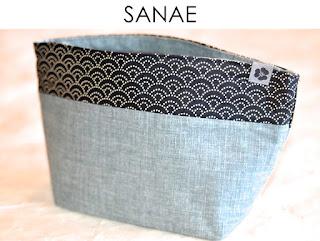Kosmetiktasche Sanae aus japanischen Stoffen von Noriko handmade, handgemacht, Einzelstück, Unikat, Schminktäschchen