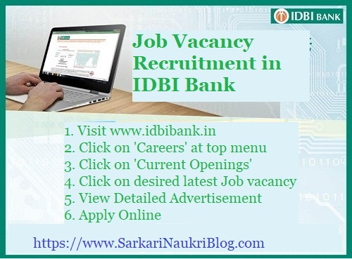 IDBI Bank Job Vacancy Recruitment