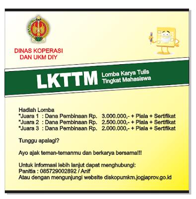 """Lomba Karya Tulis Tingkat Mahasiswa bertemakan """"Jogja Kota Koperasi"""" Tahun 2019"""