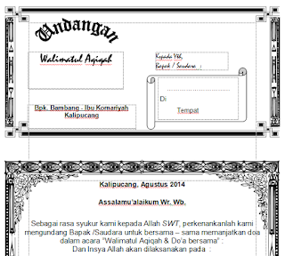 Download Contoh Undangan Walimatul Aqiqoh Word (Filetype:DOC)