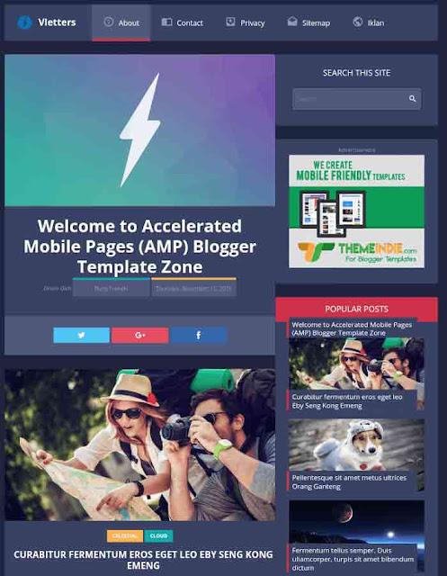 Vletters AMP Template For Blogger