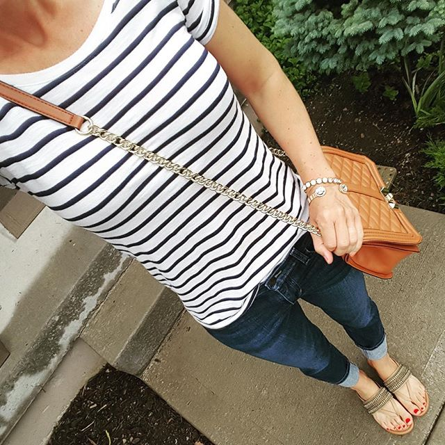 Old Navy Striped Tee // Joe's Jeans Cuffed Crops // Rebecca Minkoff Love Crossbody Handbag (I found an awesome look-a-like bag for only $35!) // Arturo Chaing Sandals - on sale for $37 (reg $69) // Purple Peridot Cuff Bracelet - sold out in clear, but on sale for $8 (reg $25) // ILY Couture Bracelet