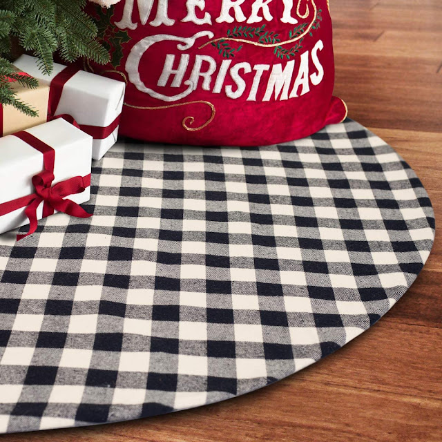 buffalo check tree skirt white gift boxes red gift bag