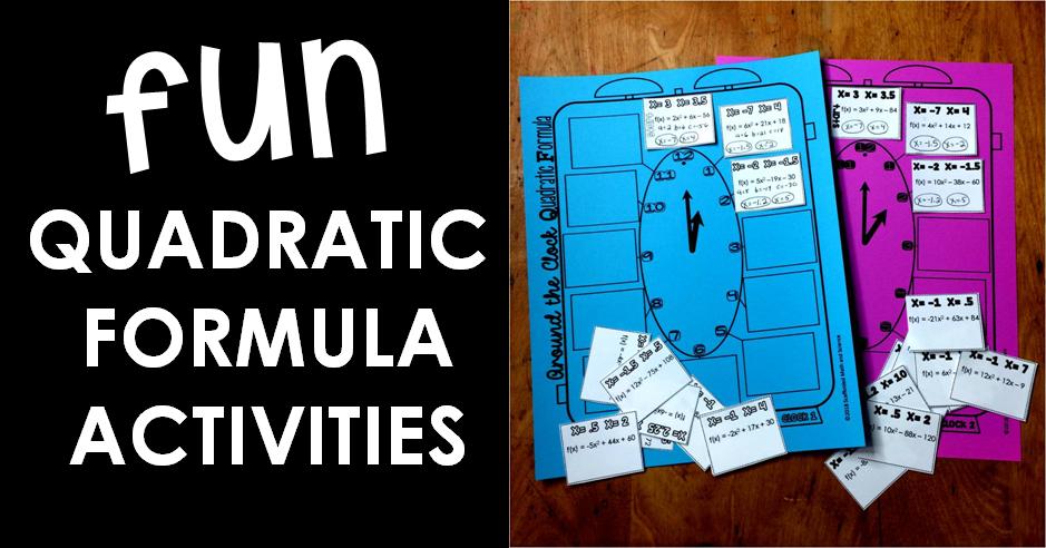 Scaffolded Math and Science: Fun Quadratic Formula Activities