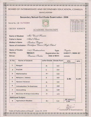 SSC result mark sheet
