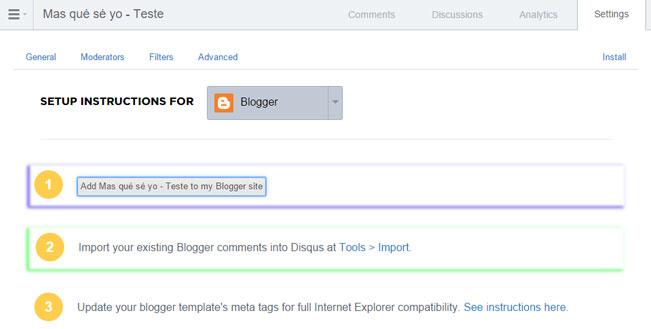 Nesta janela, aparecem algumas opções para a adição do gadget Disqus no blog e importação de comentários existentes.