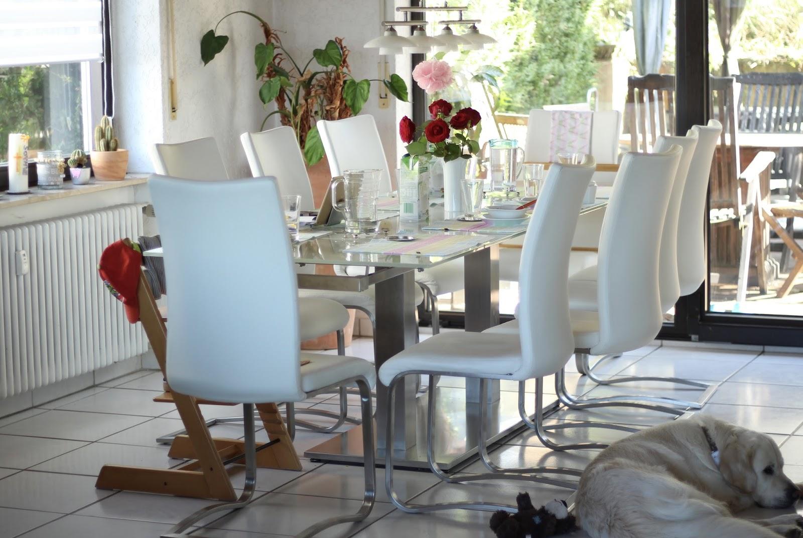 Esszimmer Einrichtung - weiße Stühle mit Glastisch