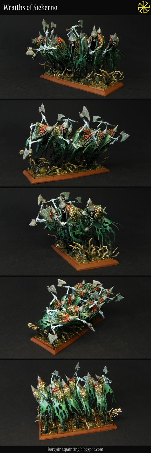 Unit of 10 converted Grimghast Reapers miniatures from Age of Sigmar (AoS), made to fit tightly together as Cairn Wraiths for Warhammer Fantasy Battle (WFB).