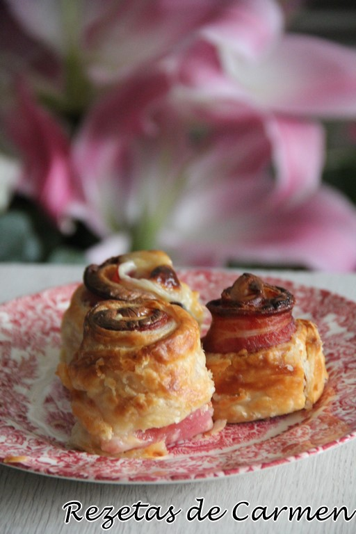 Rosas de bacon queso