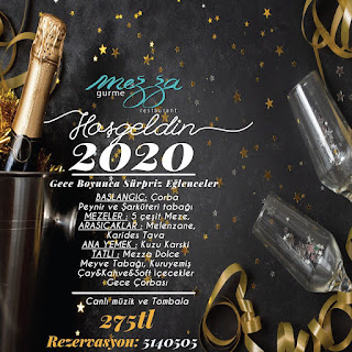 Mezza Gurme Restoran Antalya 2020 Yılbaşı Programı Menüsü