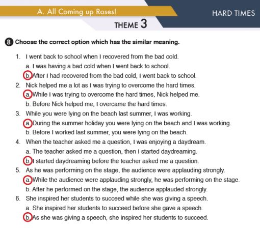 11. Sınıf MEB Yayınları İngilizce Çalışma Kitabı Silver Lining 25. Sayfa Cevapları Hard Times