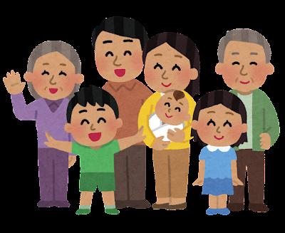 集まった家族のイラスト(東南アジア人)