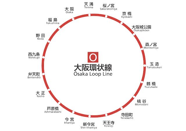 大阪環状線 路線図 (簡易版)