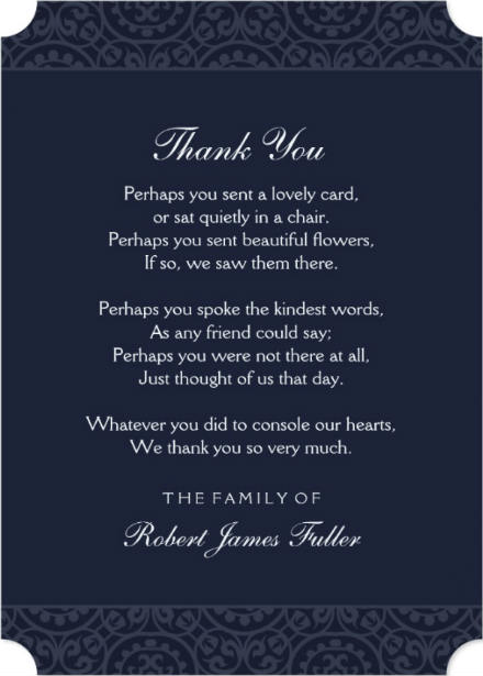 navy blue photo in loving memory sympathy thank you card perhaps poem
