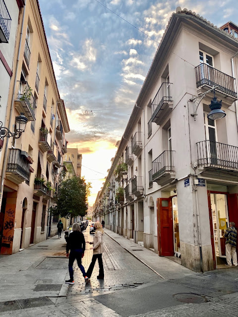 Dusk in the streets of the old historic centre of Valencia, Spain