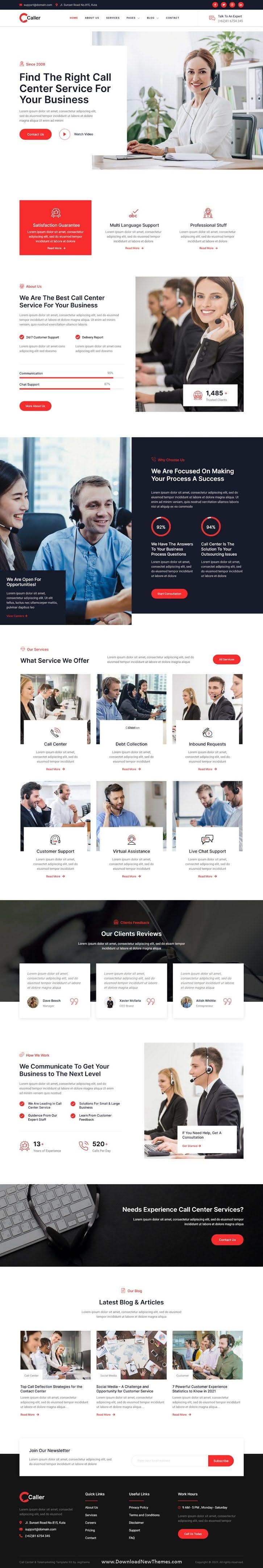 Call Center Service & Telemarketing Elementor Template Kit