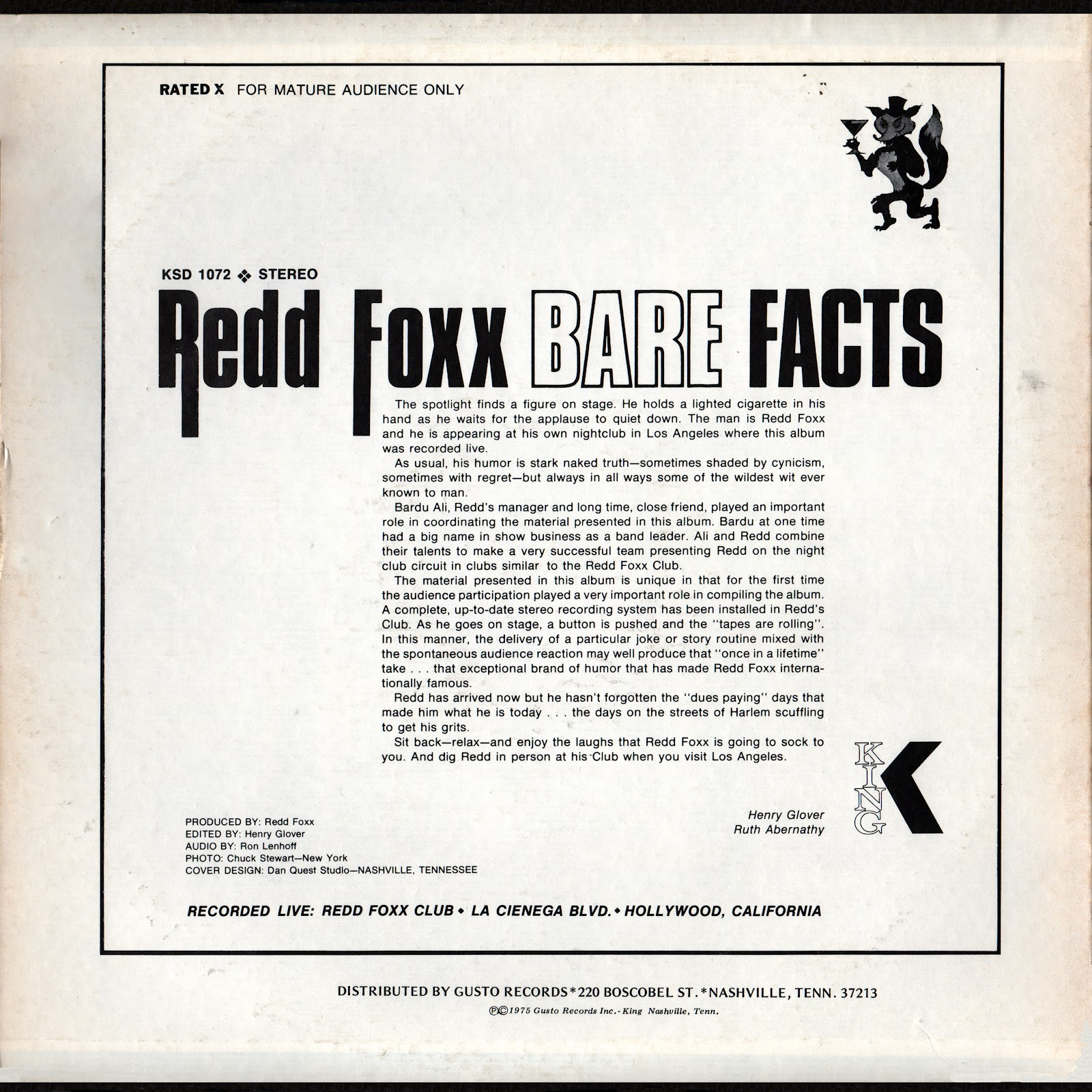 Vintage Stand Up Comedy Redd Foxx Bare Facts 1976